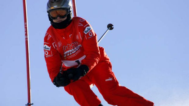 Michael Schumacher speeds down a course in Madonna di Campiglio, Italy in 2006.