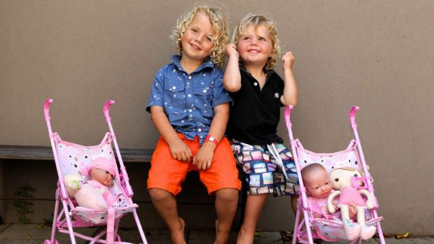 Playing mums and dads: Archie and Will Lambert, aged 4 and 2, enjoy social games.
