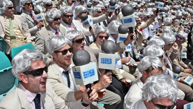 Paying homage to their hero: Richie Benaud's fan club was out in force on day two of the fifth Ashes Test at the Sydney ...
