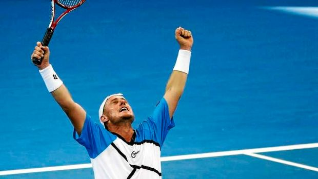 Scorcher: Lleyton Hewitt of Australia celebrates his win against Kei Nishikori of Japan.