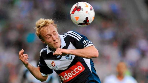 Head not in the game: Melbourne Victory star Mitch Nichols was hooked at half-time in the heavy loss to the rampant Roar.