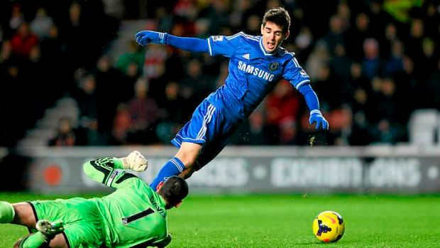 Oscar-winning performance: Brazilian Oscar of Chelsea was booked for this dive at Southampton last week.