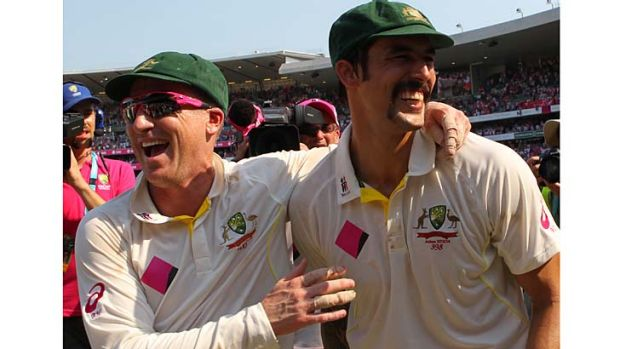 Brad Haddin and Mitchell Johnson after the whitewash was completed at the SCG on Sunday.