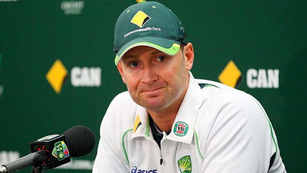 Michael Clarke speaks to the media after the whitewash was completed.