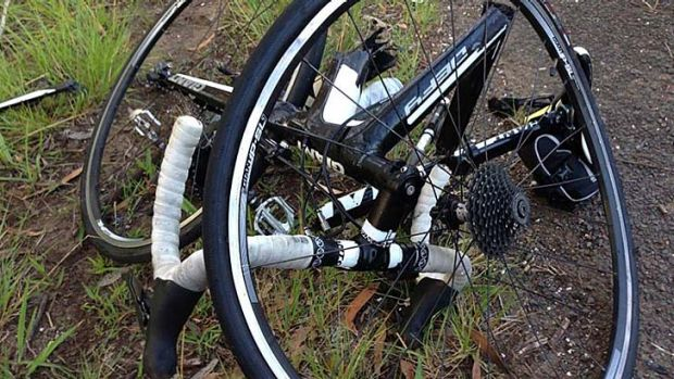 Brendan Braid's mangled bicycle. Source: Southern Cross Cycle Club, Facebook.