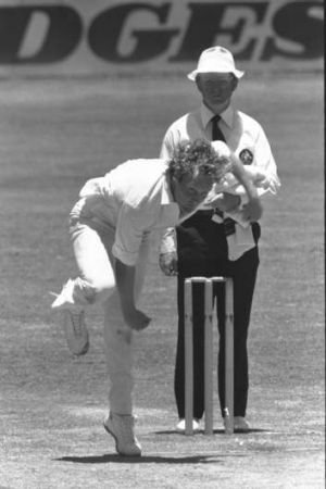 Record: Rodney Hogg during the Brisbane Test of the 1978/79 Ashes series.