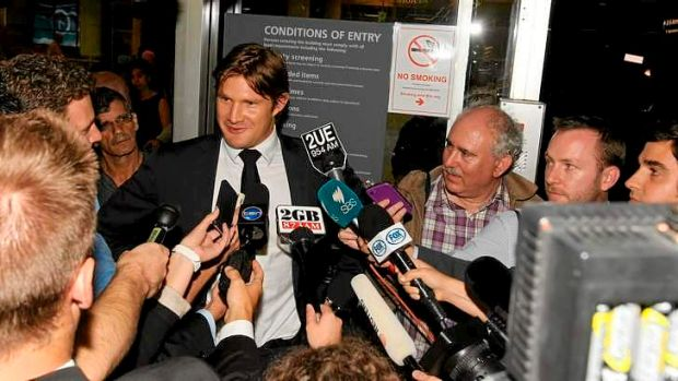 Darker days: Watson speaks to the media at Sydney Airport after leaving the tour of India in March.