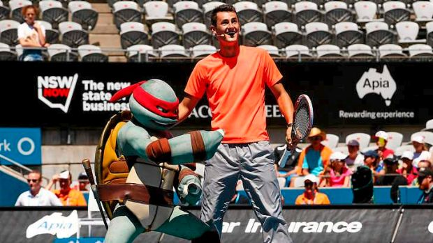 Big kid: Bernard Tomic of Australia takes part in a Kids Day activity during day two of the Sydney International.