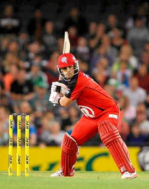 Aaron Finch of the Renegades plays a shot during the match between the Melbourne Renegades and the Melbourne Stars.