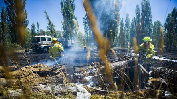 Fire crews work to ensure the grass fire will not re-ignite.