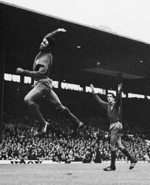 Eusebio leaps high after scoring Portugal's second goal in its World Cup match against Bulgaria in Manchester, in July 1966.