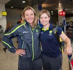 Coach Cathryn Fitzpatrick with Jess Cameron after the Australian women's team won the world T20 title in 2012.