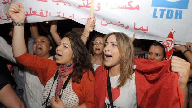 Tunisian women protested for fundamental rights in Tunis in August, 2012.