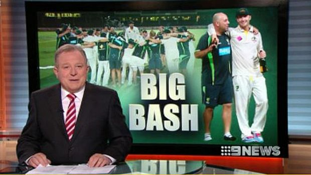 Melbourne's Peter Hitchener presenting the one hour news bulletin on Channel Nine last night.