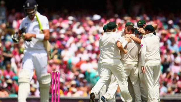 All over: Kevin Pietersen walks off after being dismissed in the second innings of the fifth Test in Sydney.