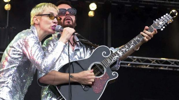 Banding together again ... Annie Lennox, left, and Dave Stewart performing as the Eurythmics in Germany in 2000 before ...