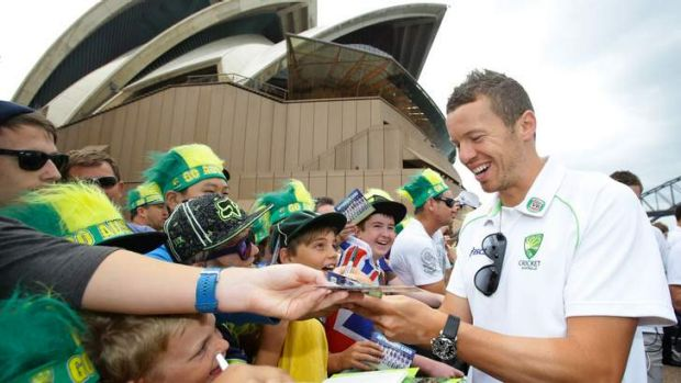 Fighting talk: Peter Siddle signs autographs at the Opera House on Tuesday. The fast bowler said Australia's pace attack ...