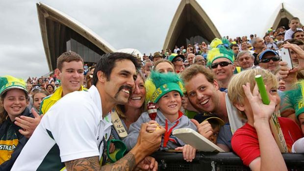 Flying high: Mitchell Johnson wows cricket fans at the Opera House reception.