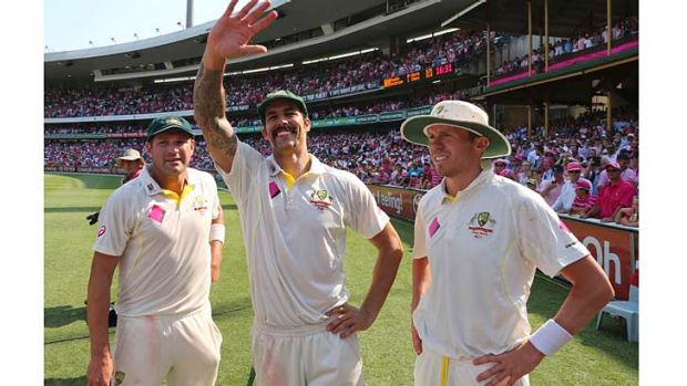 Best pace attack? Ryan Harris, Mitchell Johnson and Peter Siddle after the fifth Ashes Test win on Sunday.
