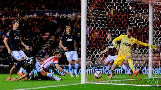 Own goal: Ryan Giggs of Manchester United scores at the wrong end to give Sunderland the lead in the League Cup ...