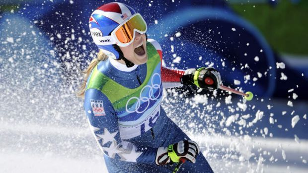 Defending downhill champion Lindsey Vonn at the Vancouver 2010 Olympics.