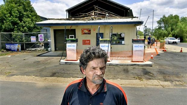Marty Warburton outside his damaged Grantham fuel station.