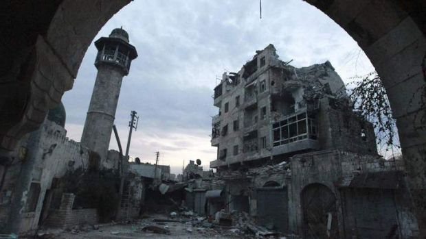 A view of damaged buildings in Old Aleppo due to the fighting.