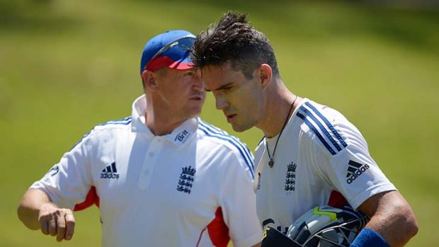 Under pressure: England's Kevin Pietersen and coach Andy Flower.