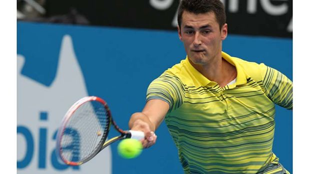 Speedy: Bernard Tomic on his way to a win against Blaz Kavcic on Wednesday.