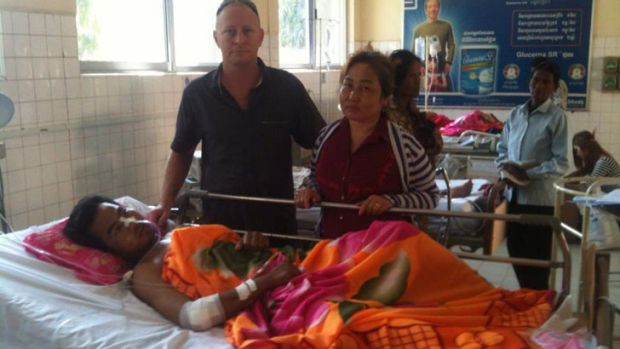 Casino worker, 29-year-old Yin Vannak had serious internal injuries and is admitted to ICU.