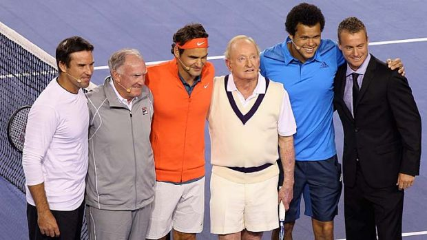 Pat Rafter, Tony Roche, Roger Federer, Rod Laver, Jo-Wilfried Tsonga and Lleyton Hewitt pose during the Roger Federer ...