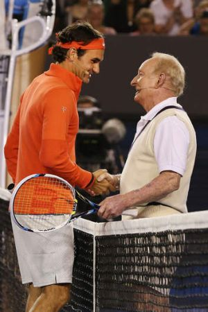 Roger Federer and Rod Laver on Wednesday night.