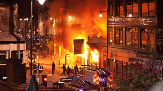Buildings burn on Tottenham High Road, London during the 2011 riots.