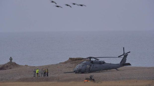 The crashed Pave Hawk helicopter on the coast near the village of Cley in Norfolk.