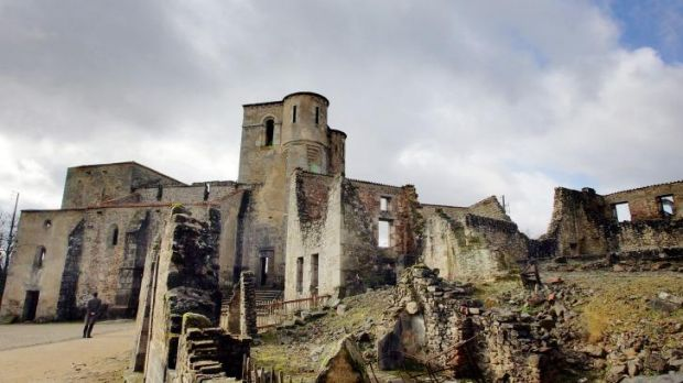 Terrible history: The church remains of the partially destroyed village of Oradour-sur-Glane, where German SS Nazi ...