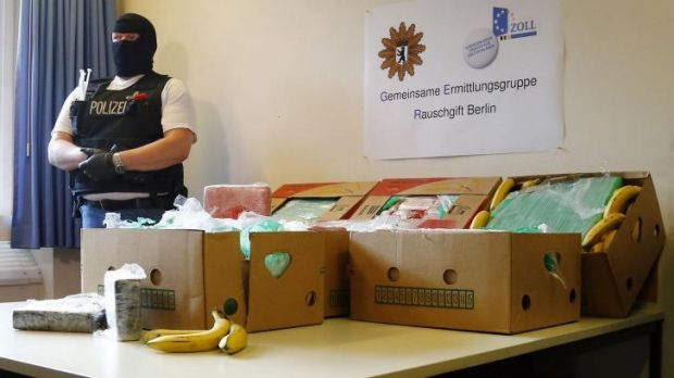 Bent cargo: Some 140 kilograms of cocaine were discovered packed in banana boxes in discount supermarkets in Berlin.