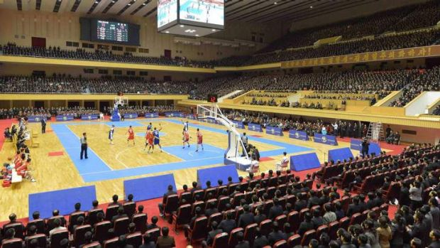 The controversial game between former U.S. NBA basketball players and North Korean players of the Hwaebul team.