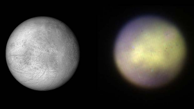 GPI can look at worlds in our solar system, too, like Jupiter's moon Europa (right). Compare that to the map of the moon ...