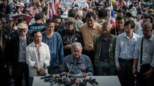 Thai anti-government protest leader Suthep Thaugsuban addresses the press in Bangkok in December, announcing he has set ...