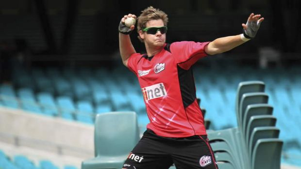 In charge: Sydney Sixers' stand-in skipper Steve Smith in training at the SCG on Thursday.