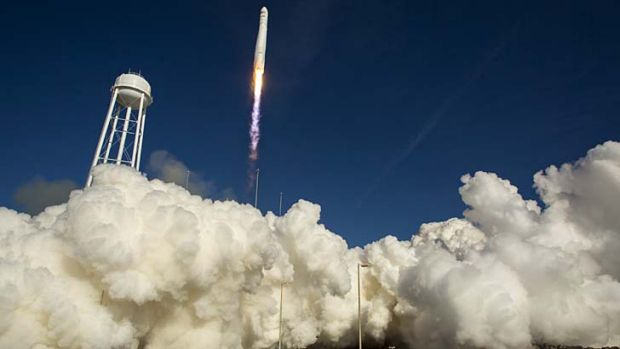"Lift off:  The Orbital Sciences Antares rocket ""Cygnus"" launches from NASA's Wallops Flight Facility in Wallops Island, ..."