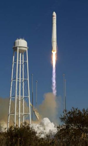 Cygnus launches from NASA's Wallops Flight Facility in Wallops Island, Virginia.