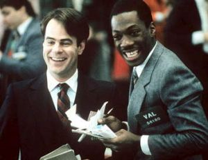 Dan Aykroyd and Eddie Murphy in <i>Trading Places</i>, (1983).
