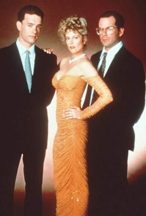 Tom Hanks, Melanie Griffith and Bruce Willis in <i>Bonfire of the Vanities</i>, (1990).