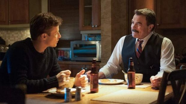 Reincarnation: Will Estes and Tom Selleck, looking like old Magnum PI, in Blue Bloods.