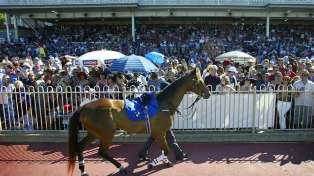 A large crowd gather to inspect the field at Ascot Racing.