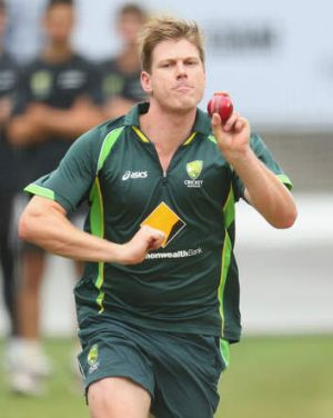 James Faulkner in the nets at the MCG.