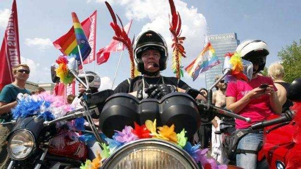Out and proud: the EuroPride march in Warsaw.