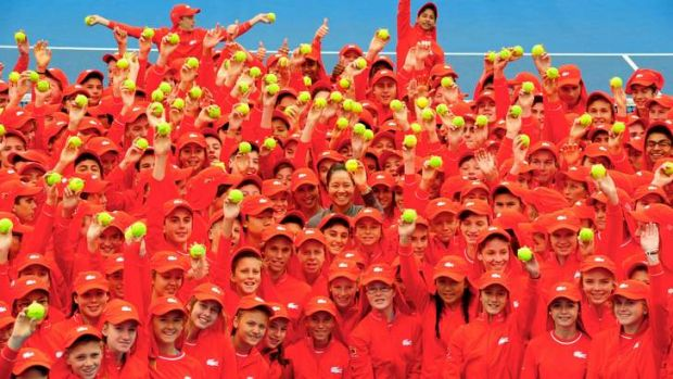 The squad of 380 ball kids who will be in action at next week's Australian Open, pictured with Chinese star Li Na (centre).