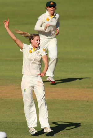 Ellyse Perry of Australia celebrates a wicket.